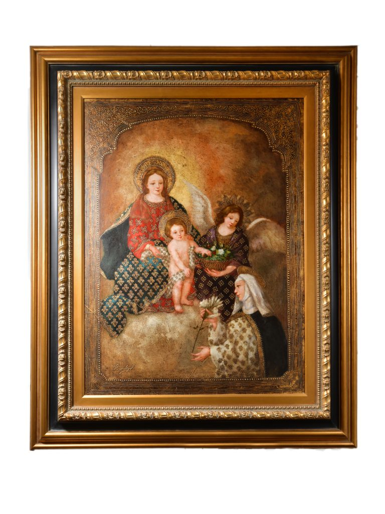 """<strong>Queen of All Saints</strong><br>63"""" x 53""""<br>$6,500"""